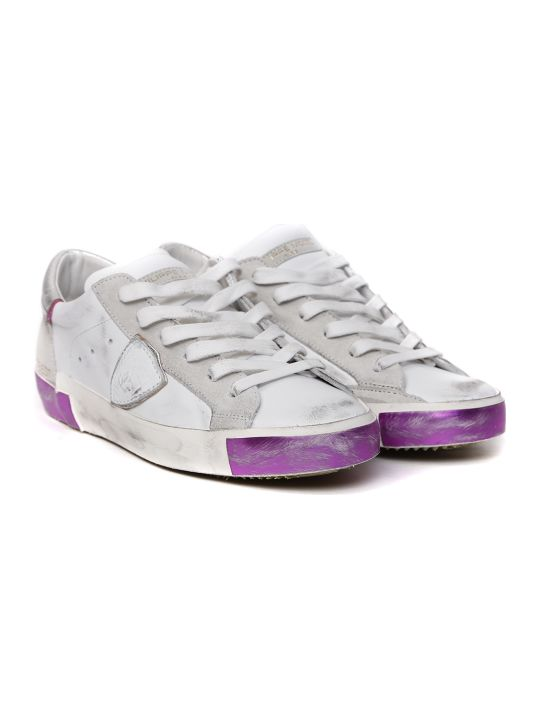Philippe Model White & Fuxia Leather Sneaker