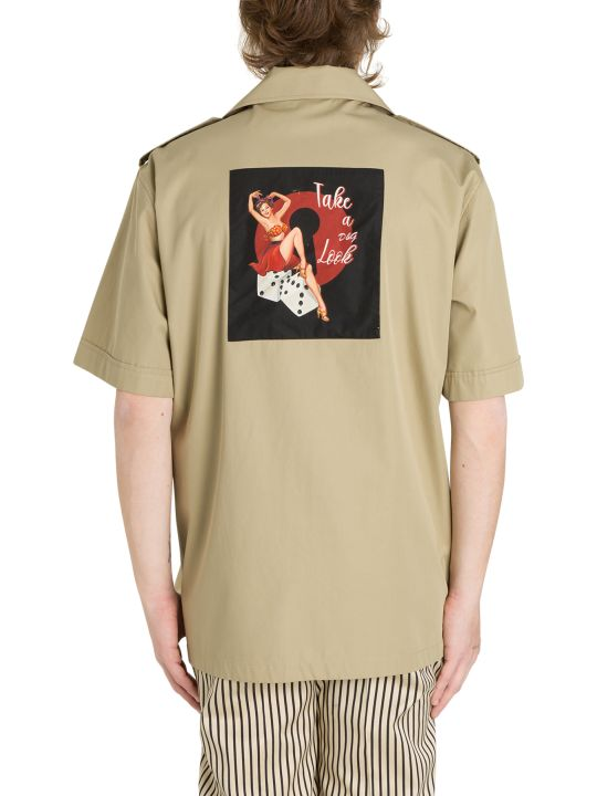 Dolce & Gabbana Safari Shirt With Pinup Print