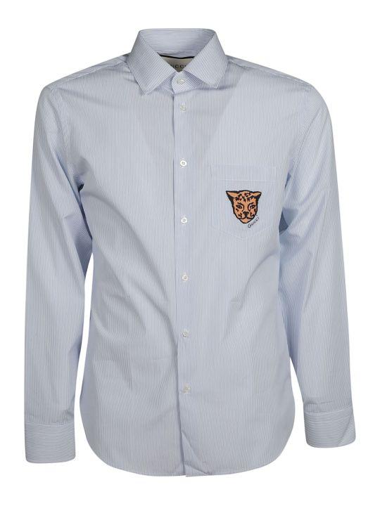 Gucci Leopard Crest Striped Shirt