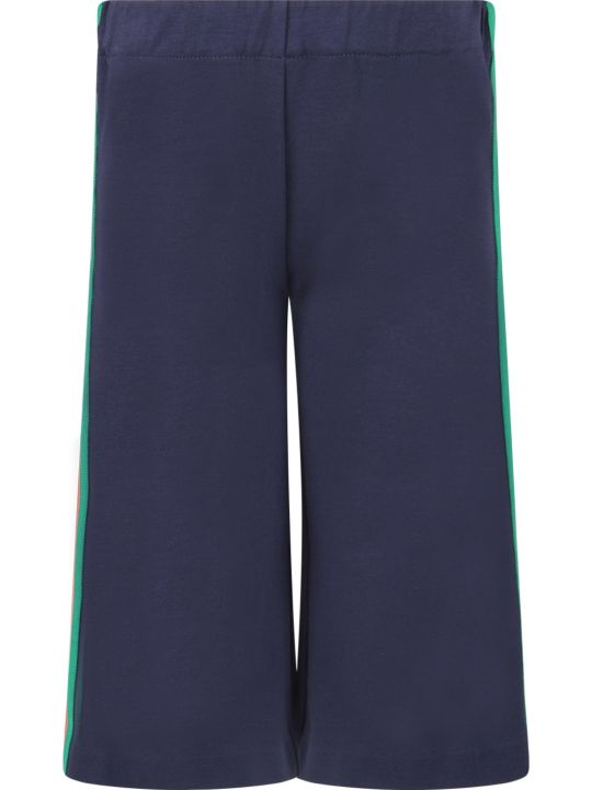 Gucci Blue Girl Pants With Red And Green Web Detail