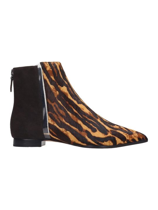 Alexandre Birman Dora Boot 25 Low Heels Ankle Boots In Animalier Pony Skin