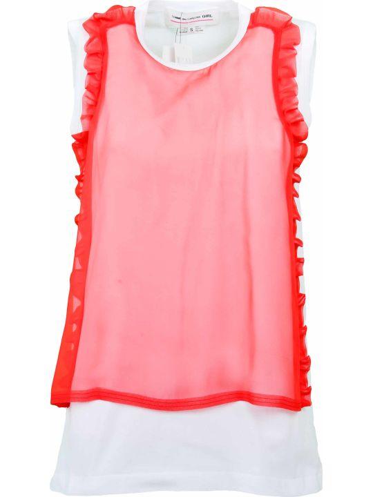 Comme Des Garçons Girl Ruffled Trim T-shirt