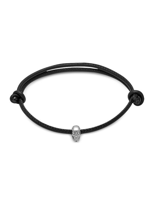 Northskull Skull Friendship Bracelet W/white Swarovski Black Leather & Silver