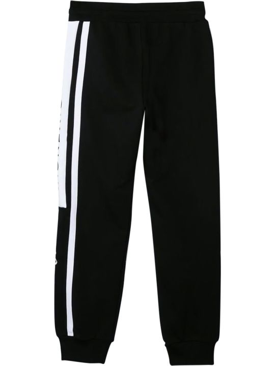 Givenchy Black Trousers With White Band And Logo