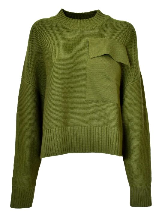 Jil Sander Navy D Chest Pocket Sweater