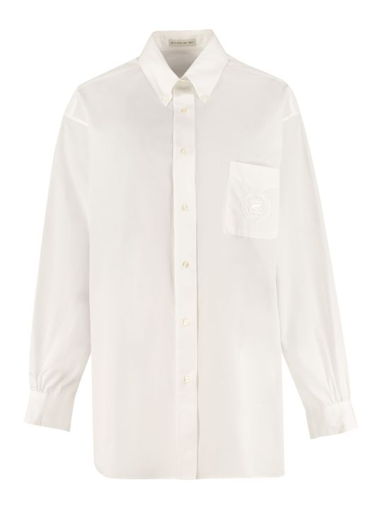 Etro Cottond Shirt With Embroidered Logo