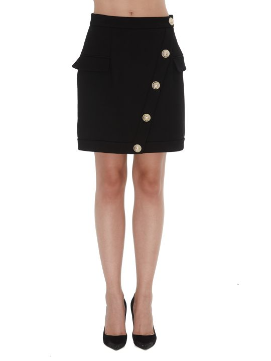 Balmain Wool Skirt With Short Wrap Effect