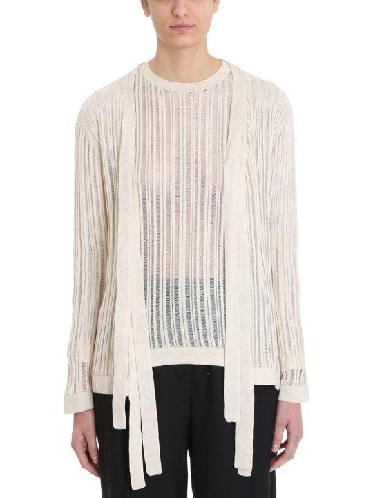 Maison Flaneur Knit Beige Cotton Cardigan