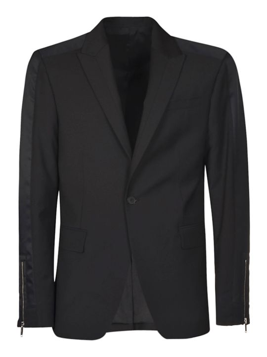 Les Hommes Peak Lapel With Band Contrast & Zip Blazer