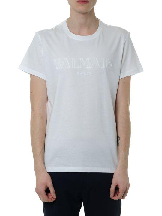 Balmain White Cotton T-shirt With Balmain Front Logo