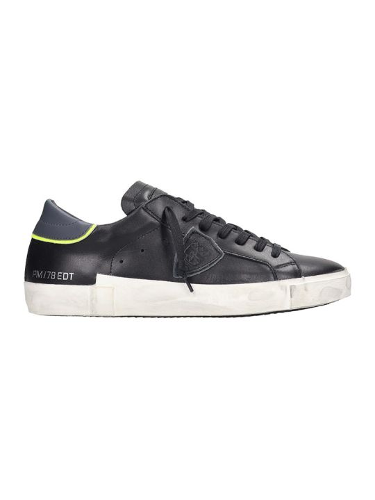 Philippe Model Prsx Sneakers In Black Leather