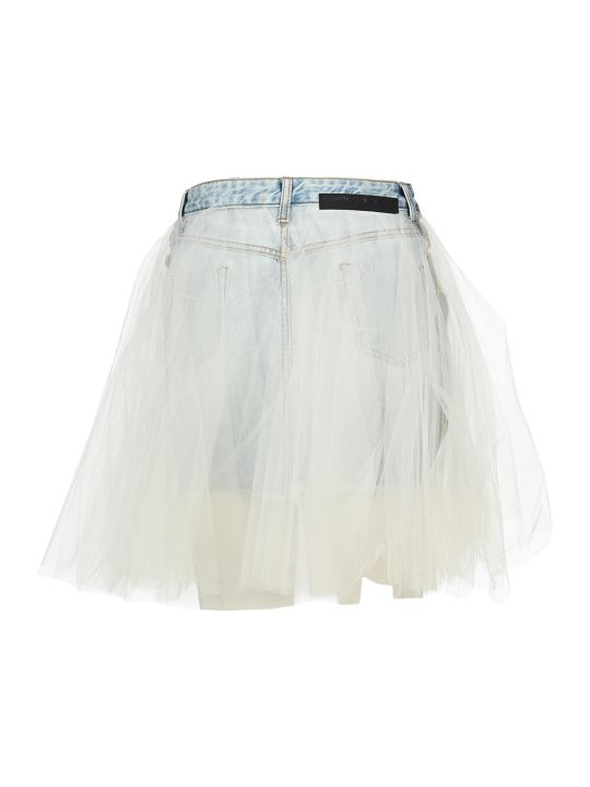 Ben Taverniti Unravel Project Unravel Tulle Layered Mini Denim Skirt