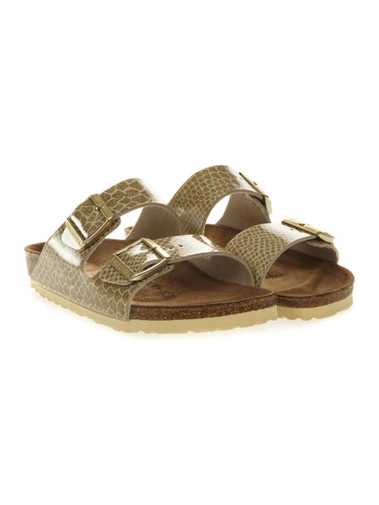 Birkenstock Arizona Gold Sandals In Birko Flor Fabric