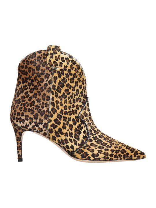Dei Mille High Heels Ankle Boots In Animalier Pony Skin