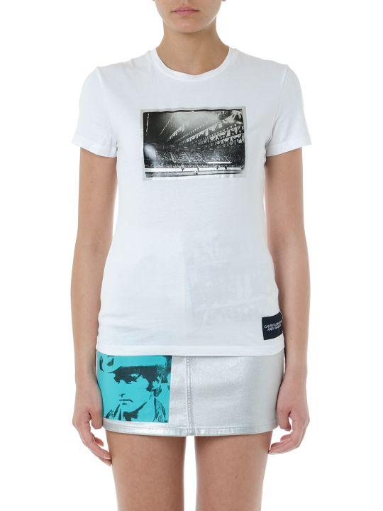 Calvin Klein Jeans White Cotton Printed T Shirt