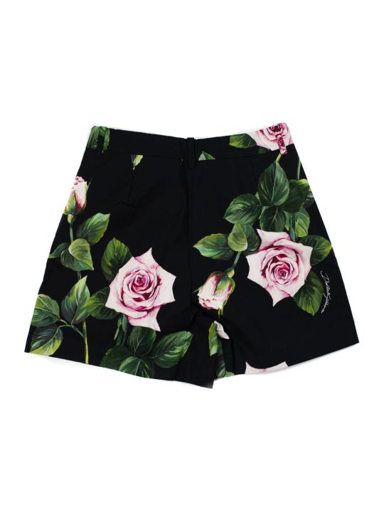 Dolce & Gabbana White, Green And Pink Cotton Rose Print Shorts