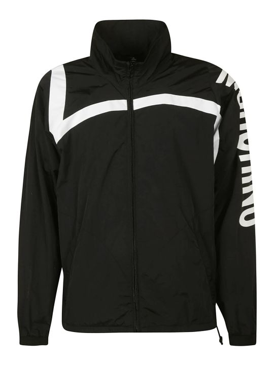 Moschino Sleeve Logo Print Zipped Jacket