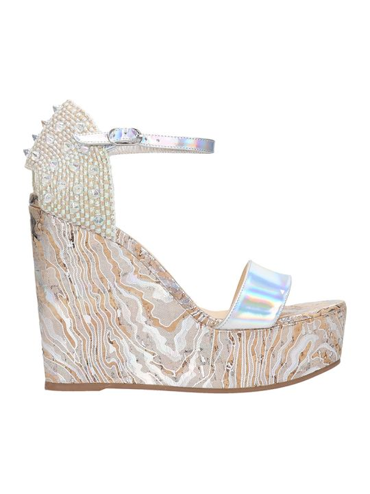 Christian Louboutin Bellamonica 120 Wedges In Silver Leather