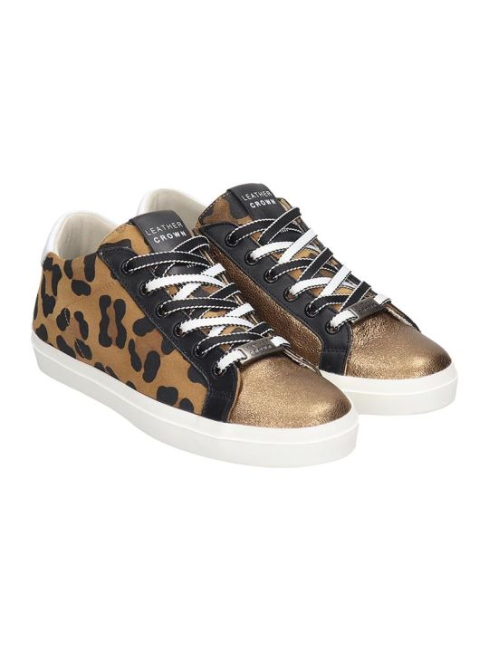 Leather Crown Sneakers In Bronze Tech/synthetic