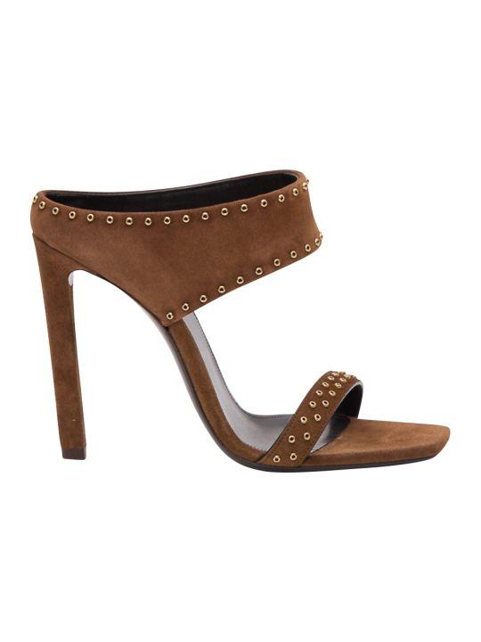 Saint Laurent Mica Grommet Suede Sandals