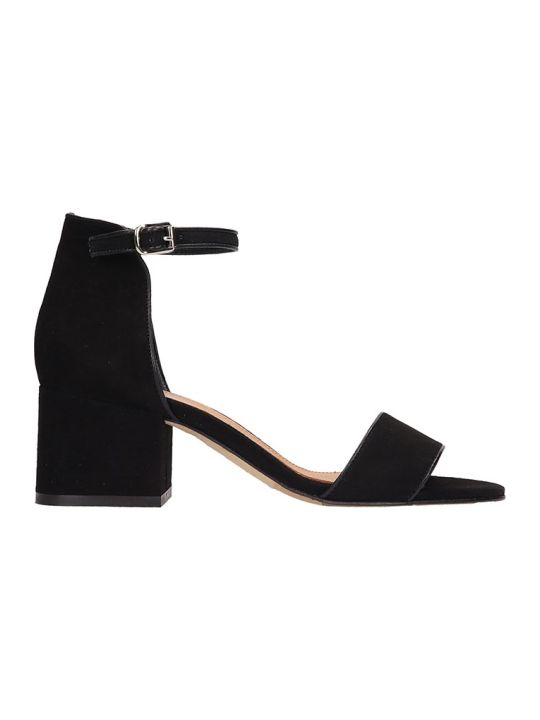 Julie Dee Black Suede Sandals