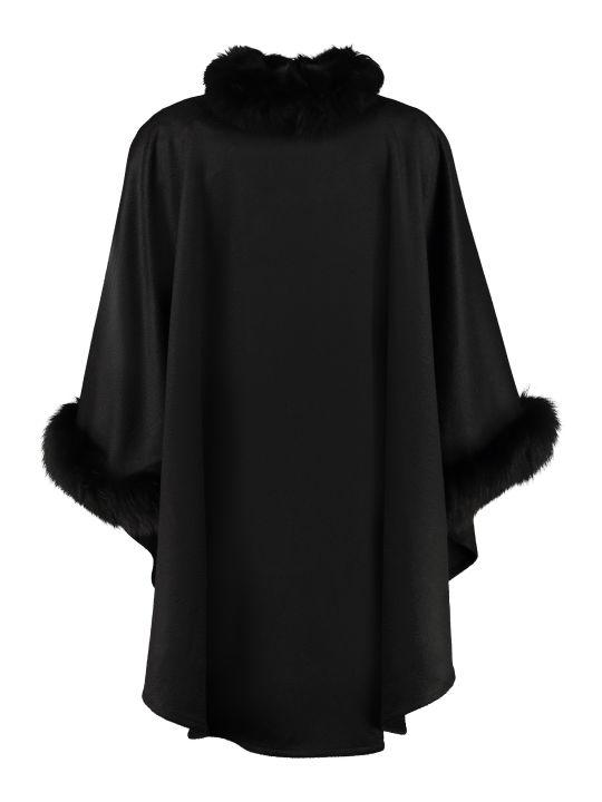 Max Mara Wssalto Fur Trimming Cashmere Cape-coat