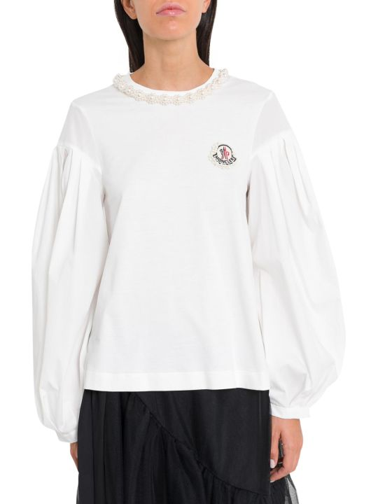 Moncler Genius White T-shirt With Necklace Embroidery By Simone Rocha