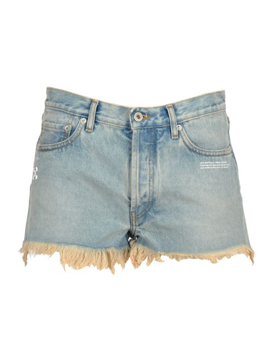 Off-White Off White Off-white Frayed Jean Shorts