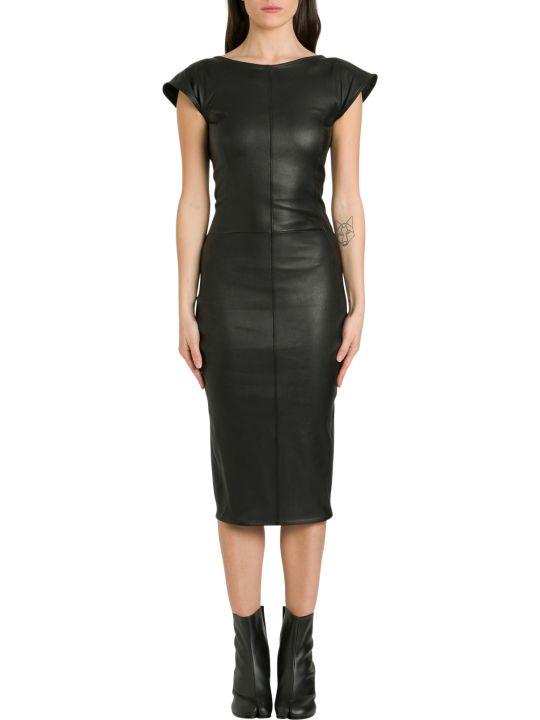 Rick Owens Sarah Leather Dress With Back Neckline
