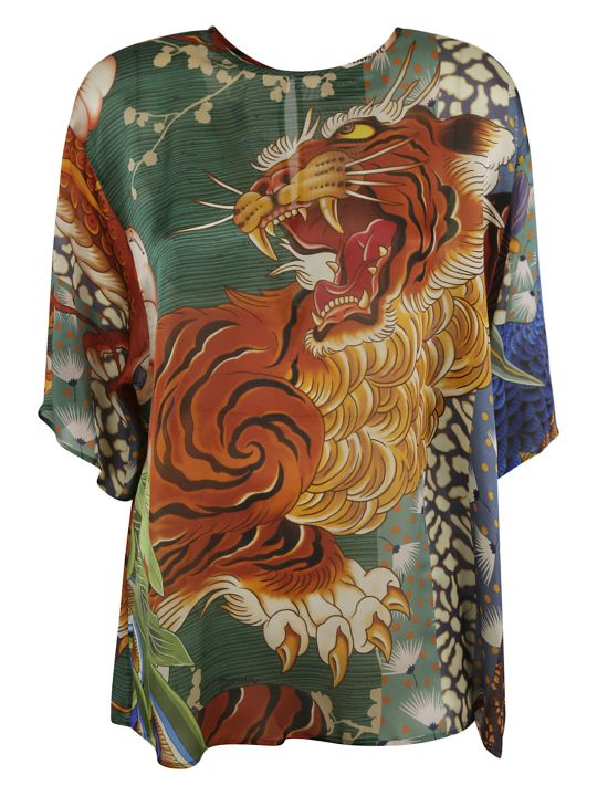 Dsquared2 Tiger Front Print Top