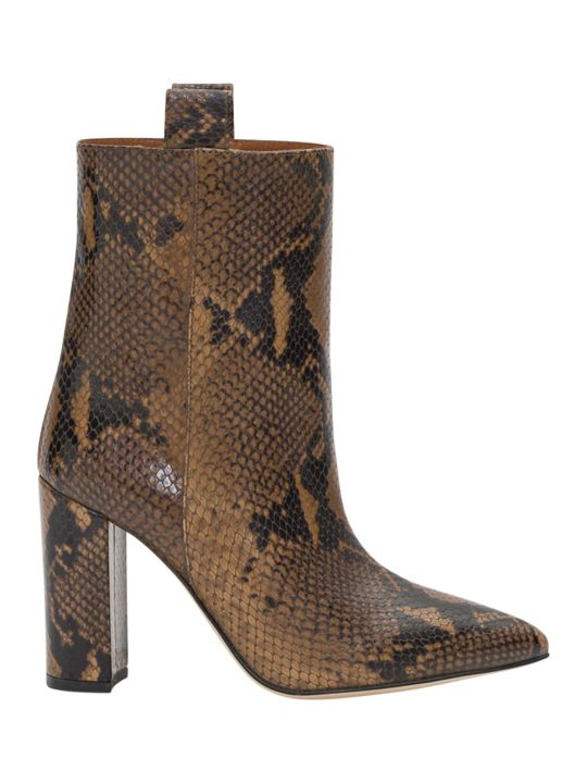 Paris Texas Python Printed Leather Ankle Boots