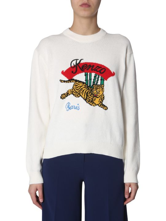 Kenzo Crew Neck Sweater With Tiger Inlay
