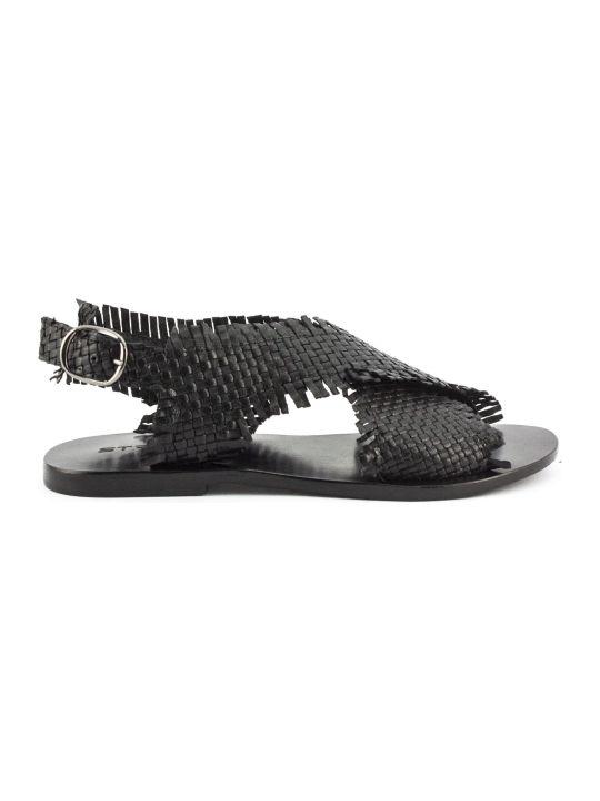 Strategia Black Leather Sandals