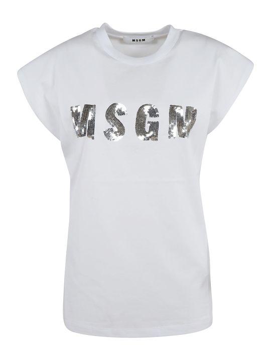 MSGM Sequined Logo Detail T-shirt