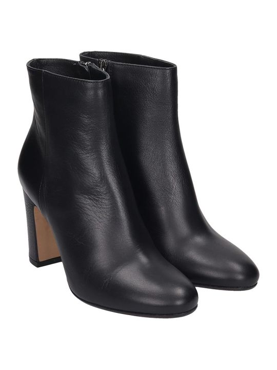 Julie Dee High Heels Ankle Boots In Black Leather