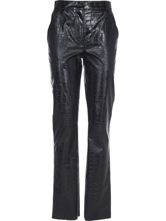 Brognano Black Pants With Crocodile Print