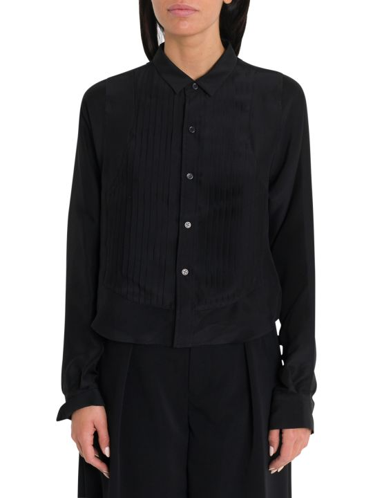 Noir Kei Ninomiya Silk Georgette Shirt With Plissé On Front