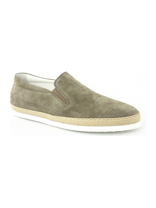 Tod's Slip-on Shoes In Beige Suede