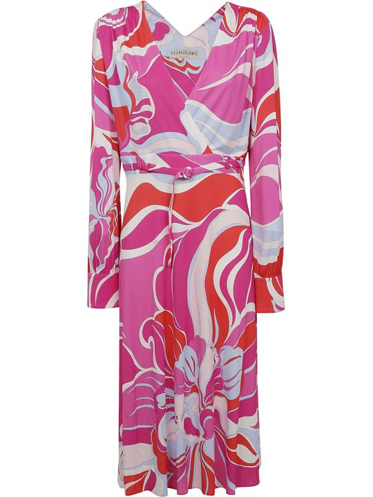 Emilio Pucci Graphic Print Belted Dress
