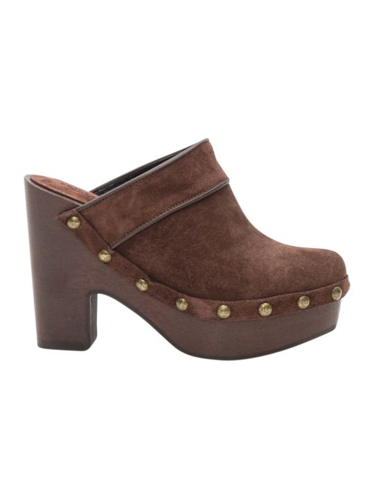 Philosophy di Lorenzo Serafini Suede Clogs With Studded Trimming
