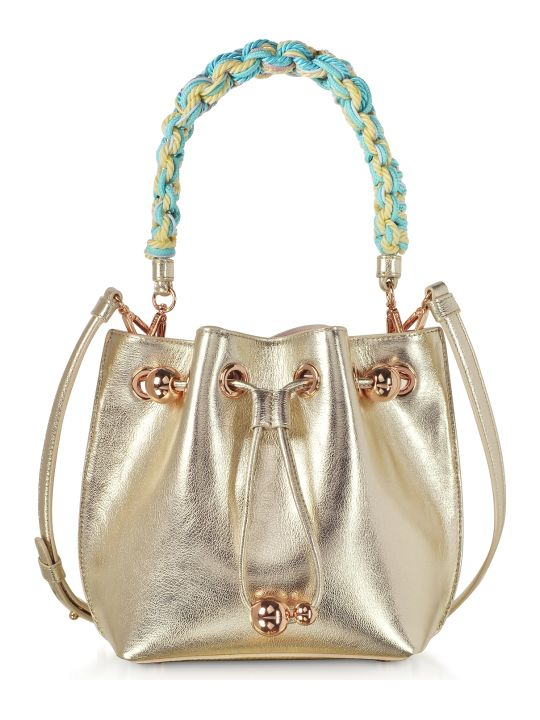 Sophia Webster Champagne Laminated Leather Romy Mini Bucket Bag