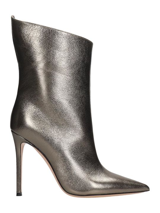 Lerre High Heels Ankle Boots In Silver Leather