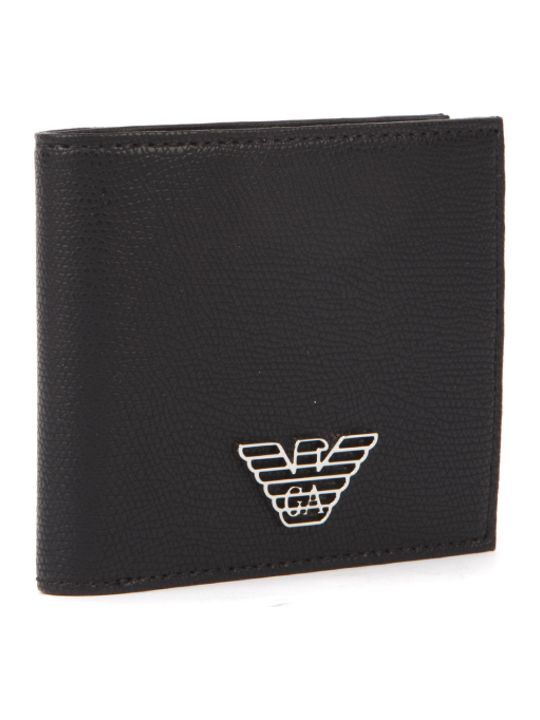 Emporio Armani Black Faux Leather Eagle Wallet