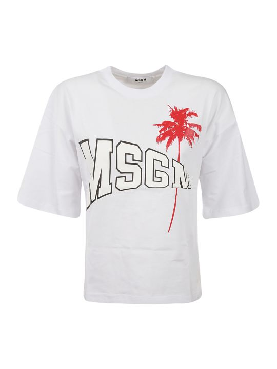 MSGM Logo Palm Tree T-shirt