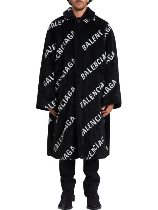 Balenciaga Cappotto In Ecopelliccia Con Logo Allover