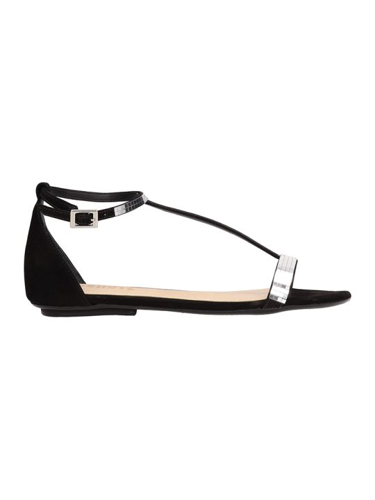 Schutz Suede Black Flat Sandals