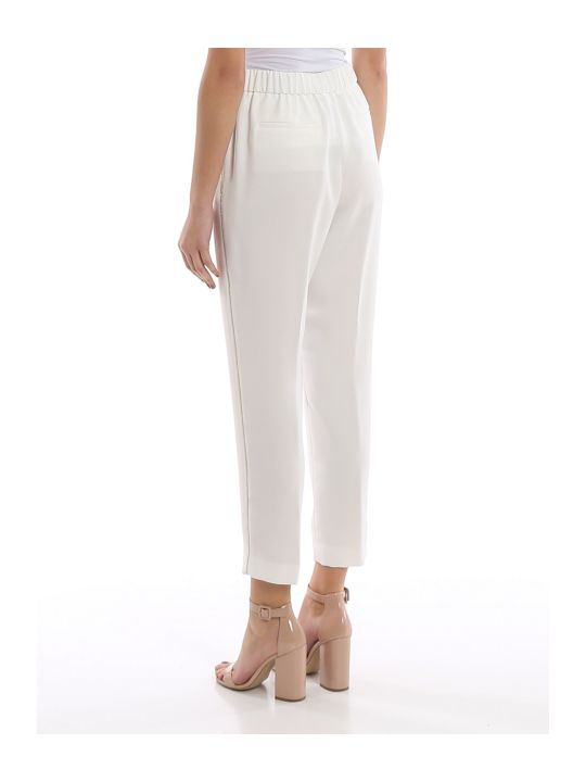 Peserico Point Light Embellished White Pants