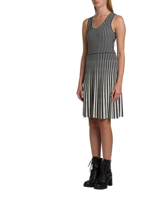 MICHAEL Michael Kors Geometric Grid Stretch-knit Pleated Dress