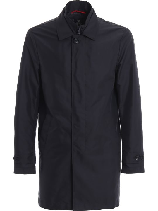 Fay Navy Blue Morning Double Front Trench Coat Nam61380030axxu808