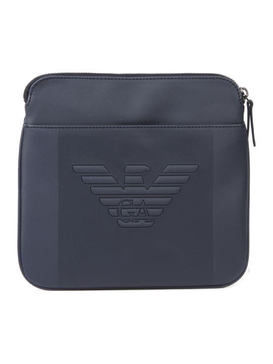 Emporio Armani Blue Embossed Logo Shoulder Bag